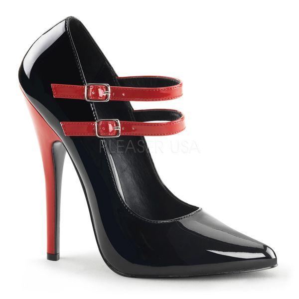 Sehr hohe schwarze High-Heel Stiletto Lack Pumps mit rotem Absatz und roten Riemchen DOMINA-442